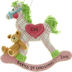 Baby's First Ornament Pink Plaid Rocking Horse