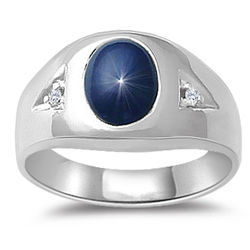 Men's Oval Diffused Star Sapphire Ring