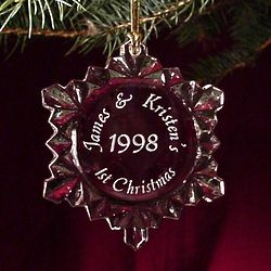 Personalized Couple's First Christmas Snowflake Tree Ornament