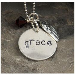 Petite Angel Wing Personalized Hand Stamped Necklace