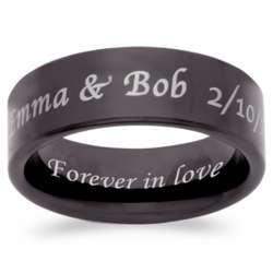 Men's Flat Black Tungsten Outside/Inside Engraved Message Band