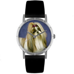 Shih Tzu Print Watch with Italian Leather Band
