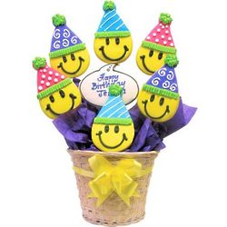 Personalized Festive Smile Face Cookie Bouquet