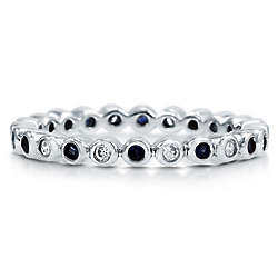 Sapphire Cubic Zirconia Sterling Silver Eternity Ring