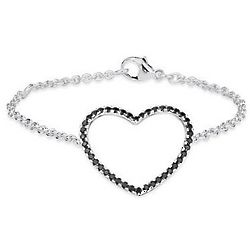 Sterling Silver Black Spinel Heart Bracelet