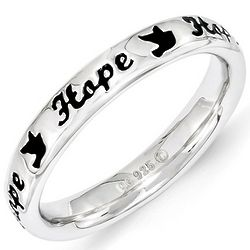 Sterling Silver Enamel Hope Word Ring