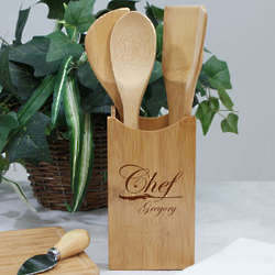 Engraved Chef Bamboo Kitchen Utensil Set