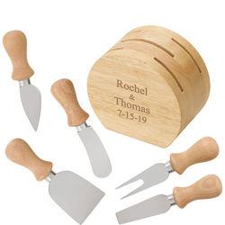Eco-Friendly 5 Piece Cheese Tool Set with Personalized Holder