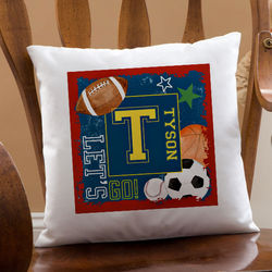 Kid's Personalized Sports Throw Pillow