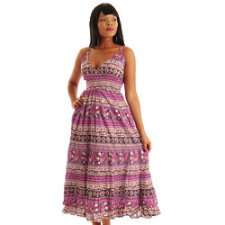 Magenta and Lilac Vintage Boho Sleeveless Maxi Dress
