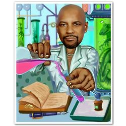 Chemist Caricature Personalized Art Print