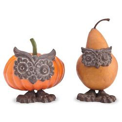 2 Cast-Iron Owl Decorations