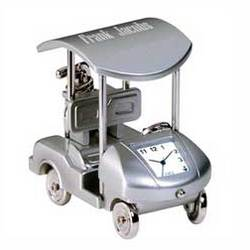 Personalized Silver Golf Cart Clock