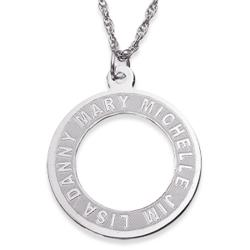 Sterling Silver Engraved Family Name Circle Pendant