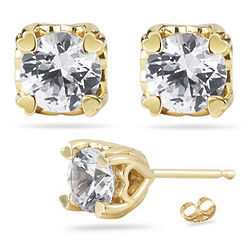 White Sapphire Stud Earrings in 14K Yellow Gold