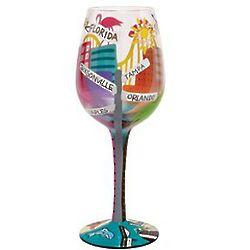 Hand Painted Florida Wine Glass