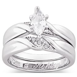 Sterling Silver Marquise Cubic Zirconia & Diamond Accent Ring Set