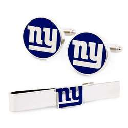 New York Giants Cufflinks and Tie Bar Set