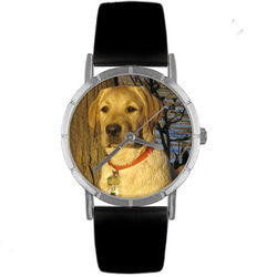 Yellow Labrador Retriever Print Watch with Italian Leather Band