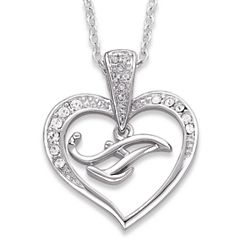 Silvertone Crystal Heart Initial Necklace