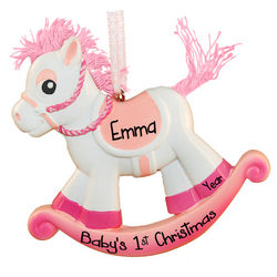 Personalized Pink Rocking Horse Ornament