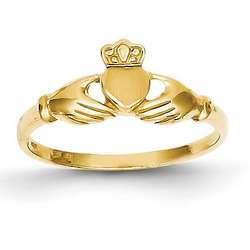 14K Yellow Gold Irish Claddagh Promise Ring