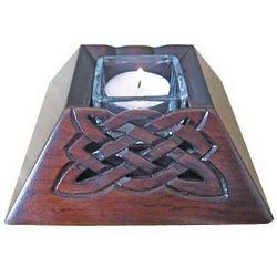 Celtic Wooden Votive Candle Holder