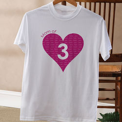 Number of Children Personalized White T-Shirt