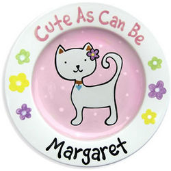 Cute As Can Be Personalized Ceramic Cat Plate