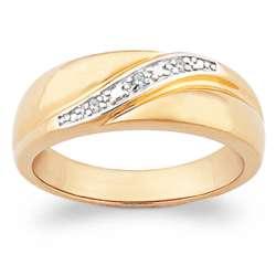 Men's 14 Karat Gold-Plated Diamond Wedding Band