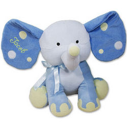 Embroidered Blue Polka Dot Stuffed Elephant