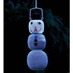 3-Tier Metal Solar Snowman No-No Bird Feeder