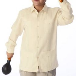 Boy's Long Sleeve Ivory Guayabera