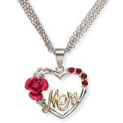 Mom's Silver, Cubic Zirconia, and Satin Rose Heart Pendant
