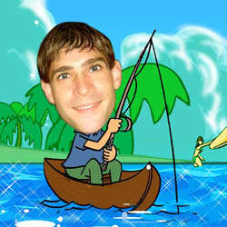 Your Photo Fishing in a Boat Caricature