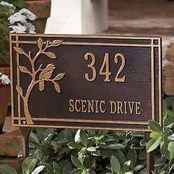 Bird Design Aluminum Address Sign