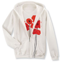 Silkscreened Poppies Hoodie
