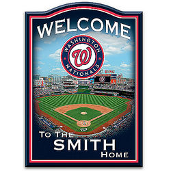 Washington Nationals Personalized Wooden Welcome Sign