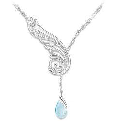 Wing of Serenity Diamond and Topaz Pendant