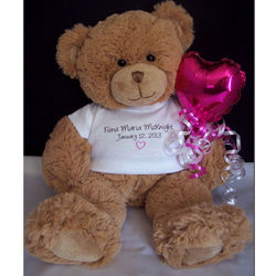 Personalized New Baby Teddy Bear with Full Name and Birthdate