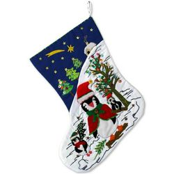 Penguin Party Applique Christmas Stocking