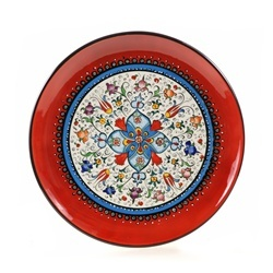 Turkish Red Floral Decorative Plate