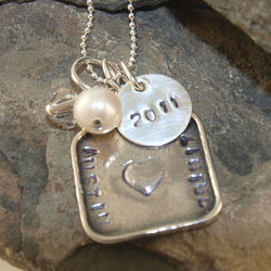 Hearts and Love Hand Stamped Necklace