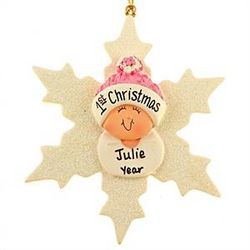 Personalized Baby Girl First Ornament Snowflake