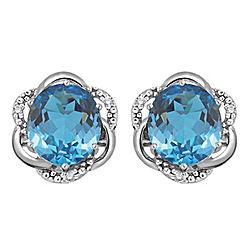 Swiss Blue Topaz & Diamond Accent Earrings