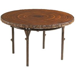 Round Tree Trunk Outdoor Dining Table