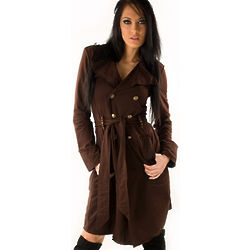 Brown Double Cotton Cowgirl Up Trench Coat
