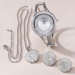 Pave Crystal Watch, Pendant and Earring Set