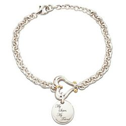 My Granddaughter, My Love Sterling Heart Charm Bracelet