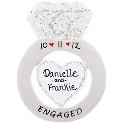Personalized Engagement Ring Ornament with Date and Hearts